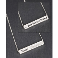 SISTER AND FOREVER FRIEND Silver Plated Sparkle Block Necklace